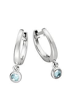 6064623ea Love GEM Sterling Silver Huggie Hoop Earrings with Blue Topaz Charm
