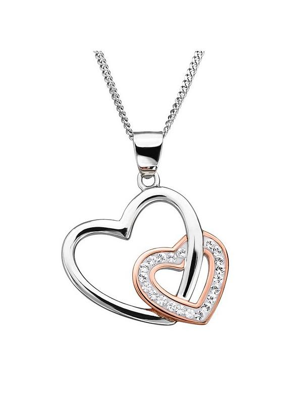 Silver Or Gold Plated Crystal Heart Pendant Necklace Various Colours