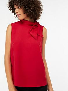 a05a5093813f3 Monsoon Tori Tie Neck Sleeveless Blouse - Red