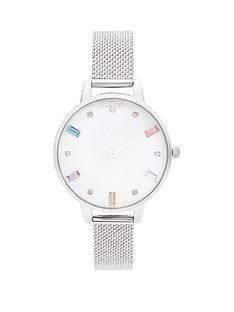 olivia-burton-olivia-burton-rainbow-bee-white-crystal-set-demi-dial-stainless-steel-boucle-mesh-strap-ladies-watch