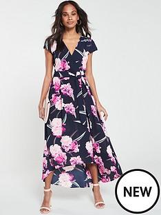 ax-paris-floral-dip-hem-dress-navy
