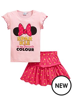 12ff1ae7577 Minnie Mouse Girls 2 Piece Minnie Mouse Sparkle Top and Skirt Set - Pink
