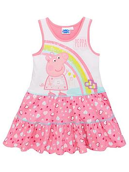 peppa-pig-girlsnbsprainbow-and-hearts-summer-dress-pinkwhite