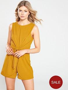 ax-paris-petite-knot-front-playsuit-mustard