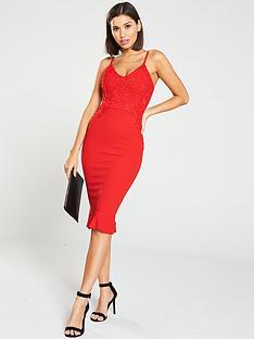 ax-paris-frill-hem-crochet-midi-dress-red