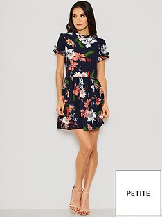 ax-paris-petite-floral-frill-skater-dress-navy