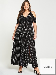 ax-paris-curve-spot-split-side-maxi-dress-black-white