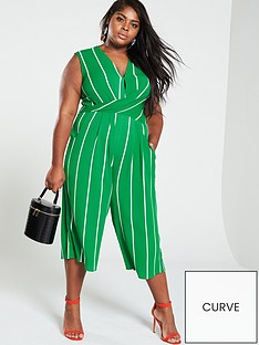 ax-paris-curve-twist-front-stripe-jumpsuit-green