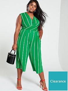 ax-paris-curve-twist-front-stripe-jumpsuit-green