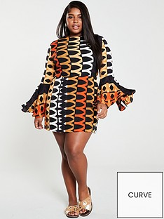 ax-paris-curve-bell-sleeve-geo-skater-dress-orange