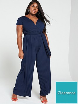ax-paris-curve-pleated-leg-cap-sleeve-jumpsuit-navy