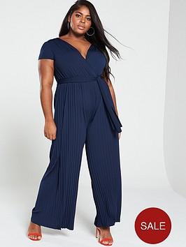 ax-paris-curve-pleated-leg-cap-sleeve-jumpsuit-navy