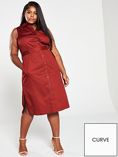 monsoon-curve-chip-shine-poplin-shirt-dress-rust