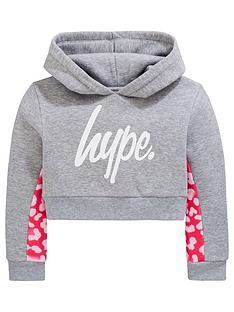 timeless design b46f2 be696 Hype Girls Leopard Print Cropped Hoodie - Grey Marl