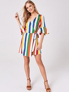 girls-on-film-candy-stripe-frill-sleeve-wrap-dress-multi