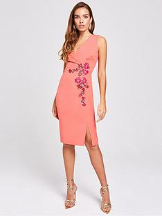 f69510b55a43f Little Mistress Embroidered Wrap Fitted Bodycon Dress - Grapefruit