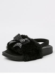 river-island-mini-mini-girls-faux-fur-bow-sliders-black