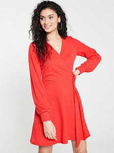 v-by-very-tie-wrap-skater-dress-red