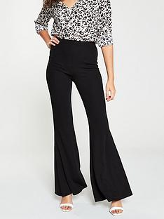 v-by-very-flared-jersey-crepe-trouser-black