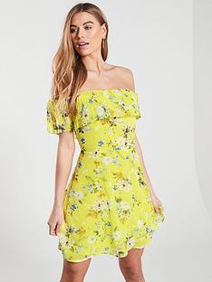 6d4d9a75baef Oasis Daisy Haze Bardot Skater Dress - Yellow