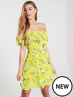 oasis-daisy-haze-bardot-skater-dress-yellow