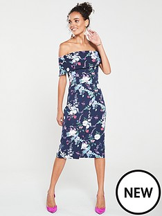 e4c1d83a0fa85c Oasis Bloom Print Bardot Pencil Dress - Blue