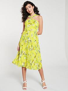 6f84ce5fa0e4e Oasis Daisy Haze Twist Neck Pleated Midi Dress - Yellow