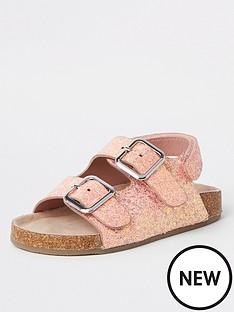 river-island-mini-mini-girls-glitter-cork-sandals-pink