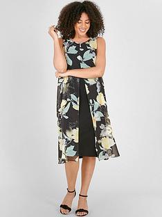 evans-floral-split-front-dress-black