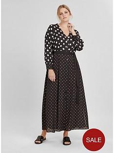 evans-mixed-spot-maxi-shirt-dress