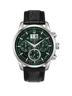 bulova-bulova-sutton-green-chronograph-dial-black-leather-strap-mens-watch