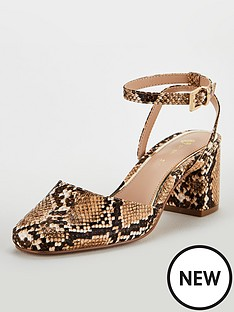 86b8ae59011c6 V by Very Denver Two Part Block Heel Square Toe Court Shoes - Snake