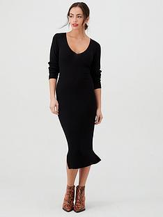 v-by-very-skinny-rib-v-neck-knitted-midi-dress-black