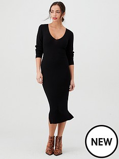 v-by-very-skinny-rib-v-neck-knitted-midi-dress-black