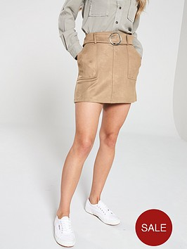 v-by-very-faux-suede-belted-mini-skirt-beige