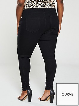 fa908aed22 V by Very Curve Slash Knee Jeggings - Black | littlewoodsireland.ie