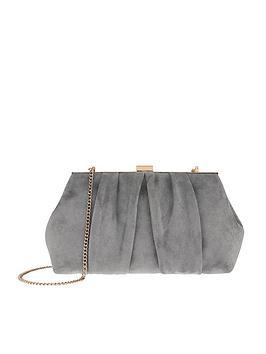accessorize-leah-suedette-clip-frame-clutch-bag-grey
