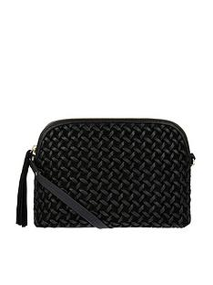 accessorize-ariana-woven-dome-leather-cross-body-bag-black