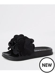 river-island-girls-flower-embellished-sliders-black