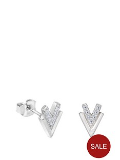 the-love-silver-collection-sterling-silver-cubic-zirconia-double-chevron-stud-earrings