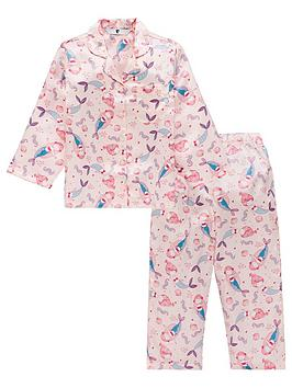v-by-very-girls-satin-mermaid-print-button-up-pyjama-set-pink