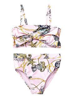802462f313e5e River Island Mini Mini girls shell knot front tankini set - pink