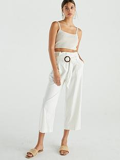 warehouse-linen-crop-trouser-ecru
