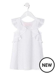 e7bfebc15502 River Island Mini Mini Girls Broderie Trapeze Dress - Cream