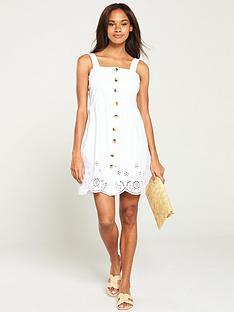 warehouse-button-through-mini-dress-white