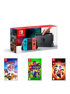 nintendo-switch-nintendo-switch-neon-console-with-lego-movie-2-lego-incredibles-and-lego-dc-super-villains