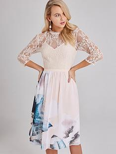1600344717: Little Mistress Lace Top Printed Chiffon Skirt Midi Dress - Multi