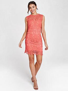 paper-dolls-crochet-mini-shift-dress-coral