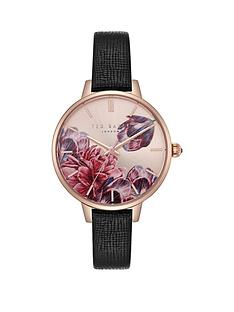 faeb8190d3c Ted Baker Ted Baker Blush Floral Dial Black Leather Strap Ladies Watch