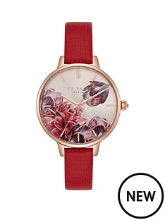 ted-baker-ted-baker-blush-floral-dial-red-leather-strap-ladies-watch